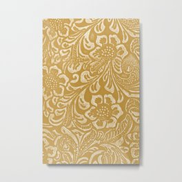 Tan & Cream Tooled Leather Metal Print