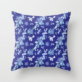Orchids in a blue night Throw Pillow