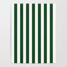 Large Forest Green and White Rustic Vertical Beach Stripes Poster