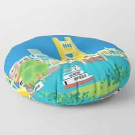 Sacramento, California - Skyline Illustration by Loose Petals Floor Pillow
