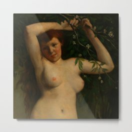 """Gustave Courbet """"Nude with Flowering Branch"""" Metal Print"""