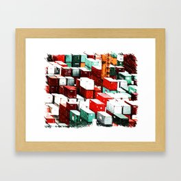 Mint Red Shipping Containers  Framed Art Print