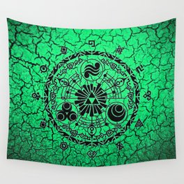 Green Circle Of Triangle Wall Tapestry