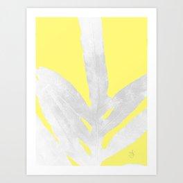 Green Fern on Lemon Yellow Inverted Art Print