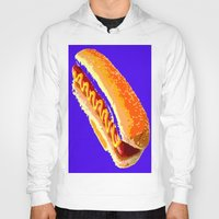hot dog Hoodies featuring Hot Dog by Del Vecchio Art by Aureo Del Vecchio