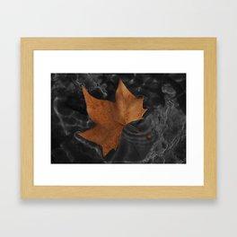 Leaf on dark water Framed Art Print