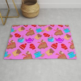 Cozy cute pink pattern. Happy llamas, sweet chocolate, mittens, hats, hot cocoa with marshmallows Rug