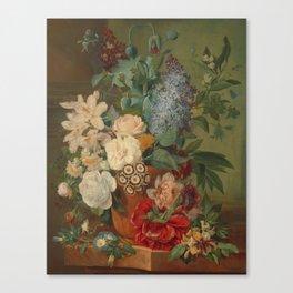 Flowers in a Terra Cotta Vase by Albertus Jonas Brandt Canvas Print