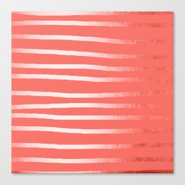 Living Coral Rose Gold Simply Drawn Stripes Canvas Print