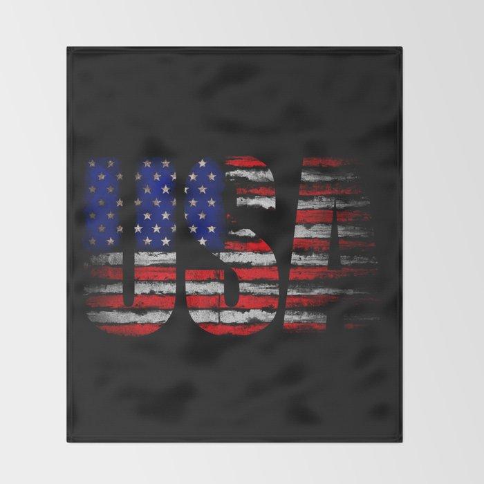 Distressed USA Flag Throw Blanket