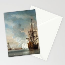 Willem van de Velde the Younger - English Warship Firing a Salute Stationery Cards