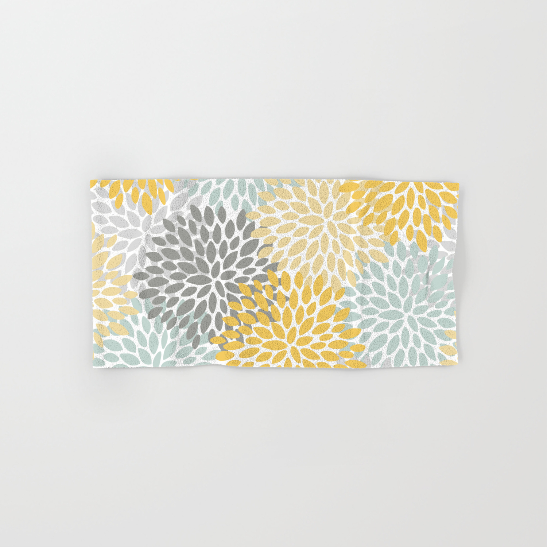 Fl Pattern Yellow Pale Aqua Blue And Gray Hand Bath Towel