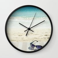 holiday Wall Clocks featuring Holiday by Joyce Vincent