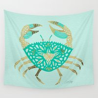 crab Wall Tapestries featuring Crab – Turquoise & Gold by Cat Coquillette