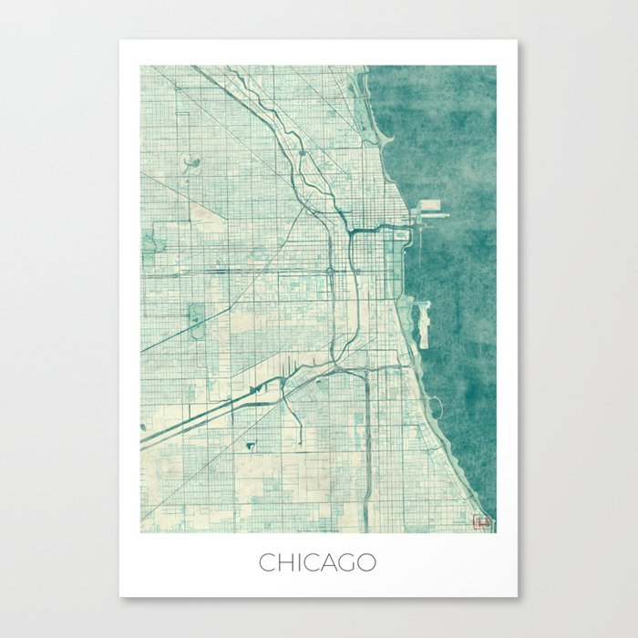 Chicago Map Canvas.Chicago Map Blue Vintage Canvas Print By Hubertroguski Society6