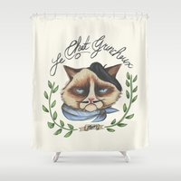 grumpy Shower Curtains featuring Monsieur Grumpy by Jacqueline Maldonado