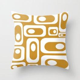 Atomic Age Pod Pattern in White and Ochre Mustard Yellow. Minimalist Monochrome Throw Pillow