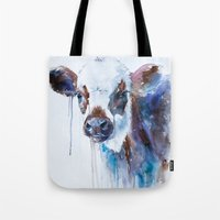 cow Tote Bags featuring Cow by Slaveika Aladjova