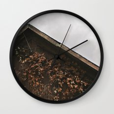 Camouflage - Red Leaves on Barn Wall Clock