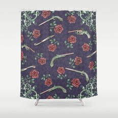 Elegant Guns, Knives and Roses on Blue Shower Curtain