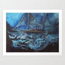 Sailing on the Neil James at night Art Print