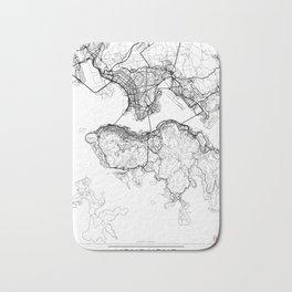 Hong Kong Map White Bath Mat