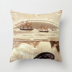 paper II :: whales/ships (red) Throw Pillow