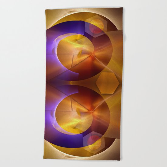 Modern abstract with a golden glow Beach Towel