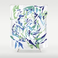 dolphins Shower Curtains featuring DOLPHINS by Alex Rocha