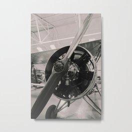 Vintage prop plane ( B&W photo print). Metal Print