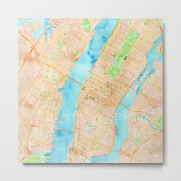 New York City watercolor map Metal Print