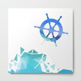 Steering wheel low-poly vector illustration. Metal Print