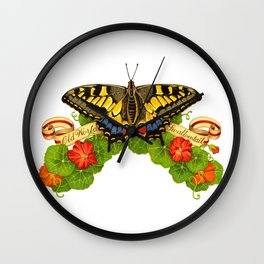 Old World Swallowtail Butterfly Wall Clock