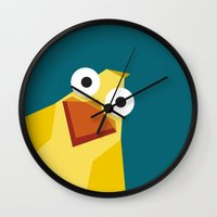 duck Wall Clocks featuring Duck by Fairytale ink