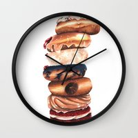 donuts Wall Clocks featuring Donuts! by Sam Luotonen