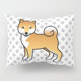 Red Shiba Inu Cute Cartoon Dog Pillow Sham