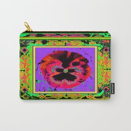 Exotic Red Pansy in  Green-Lavender-Rose-Yellow Color Patterns Abstract Carry-All Pouch