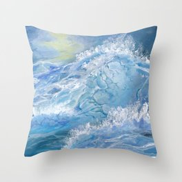 Giant Blue Waves in the Ocean with Sea Spray Throw Pillow