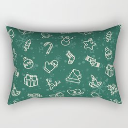 Christmas Pattern with Tree, Star, Present, Snowman, Candy Cane Rectangular Pillow