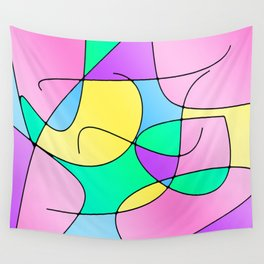 ABSTRACT CURVES #1 (Multicolor Light) Wall Tapestry