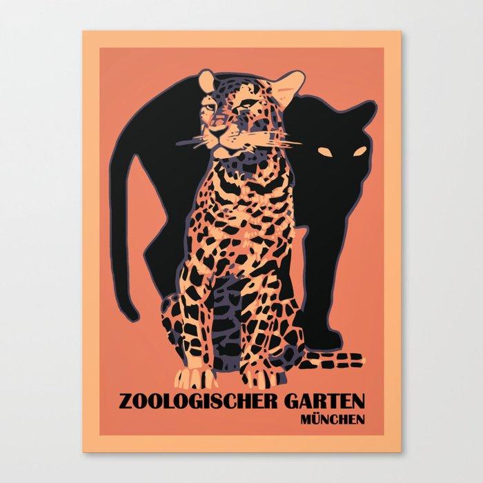 Retro vintage Munich Zoo big cats Leinwanddruck