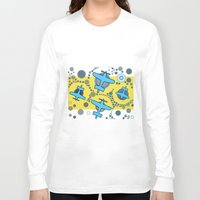 airplanes Long Sleeve T-shirts featuring blue airplanes by Isabella Asratyan