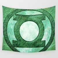 green lantern Wall Tapestries featuring Green Lantern: Symbol by André Joseph Martin