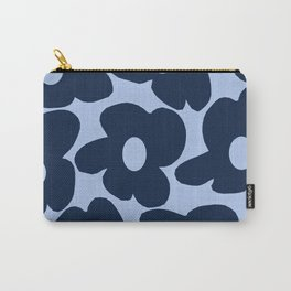 Large Dark Blue Retro Flowers Baby Blue Background #decor #society6 #buyart Carry-All Pouch