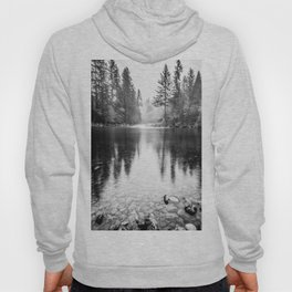Forest Reflection Lake - Black and White  - Nature Photography Hoody