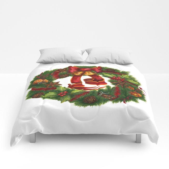 Christmas wreath. Art nouveau. Comforters