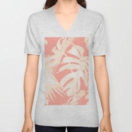 Tropical Coral Pink Palm Leaf Pattern Unisex V-Neck