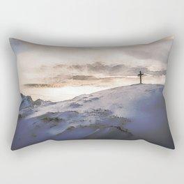 Christian Cross On Mountain Rectangular Pillow