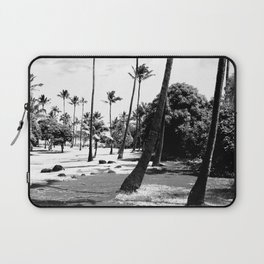 palm tree with cloudy sky in black and white Laptop Sleeve