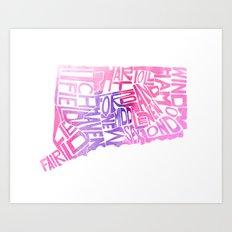 Typographic Connecticut - pink watercolor Art Print